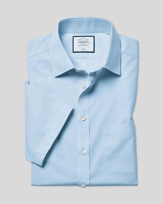 Slim fit non-iron natural cool short sleeve sky blue shirt