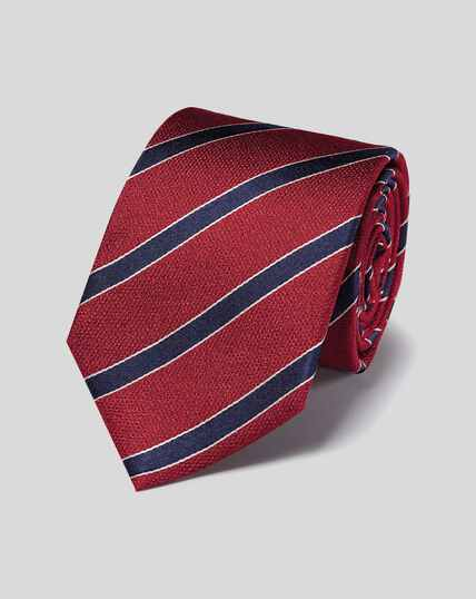 Silk Stripe Tie - Red & Navy