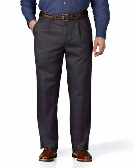 Grey classic fit single pleat washed chinos