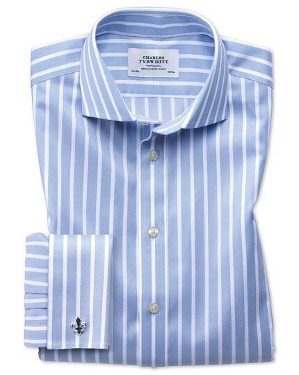 Chemise bleu ciel et blanche slim fit sans repassage à rayures Bengale et col cutaway