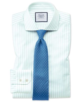 Extra slim fit spread collar textured stripe green and white shirt