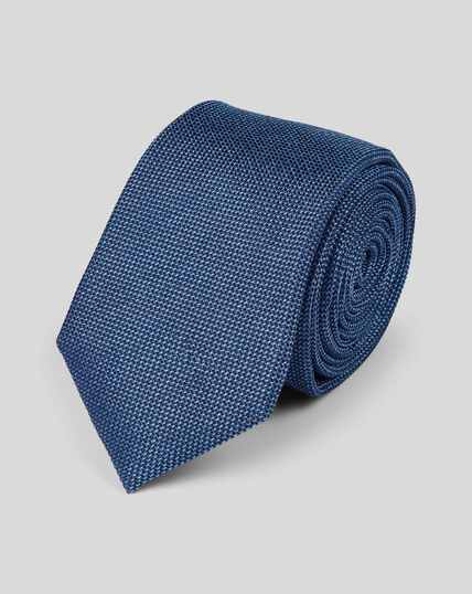 Silk Slim Plain Tie - Blue