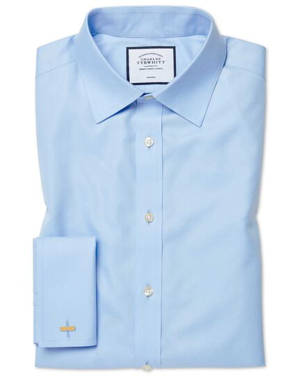 Slim fit sky blue non-iron twill shirt