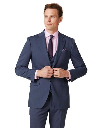 Light blue slim fit step weave suit jacket