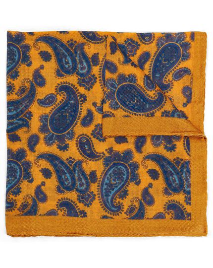 Gold and blue paisley luxury Italian pocket square
