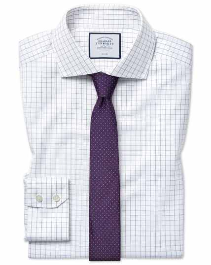 Slim fit cutaway collar non-iron cotton stretch Oxford blue and white check shirt