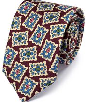 Burgundy and blue silk medallion print English luxury tie