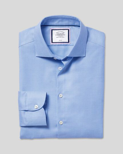 Business Casual Collar Non-Iron Stretch Texture Shirt - Blue