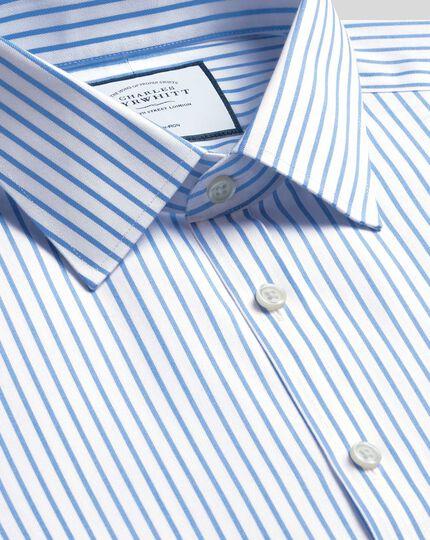 Chemise en twill à rayures et col classique sans repassage -  Blanc et bleu ciel