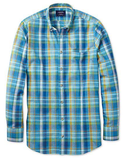 Chemise verte et bleue coupe droite à carreaux