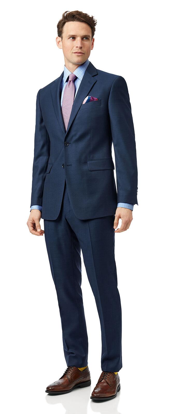 Blue slim fit twill business suit