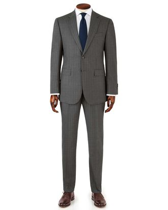 Grey stripe slim fit twill business suit