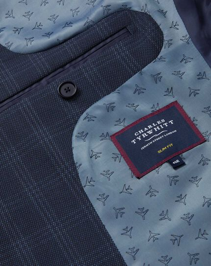 Check Birdseye Travel Suit Jacket - Navy