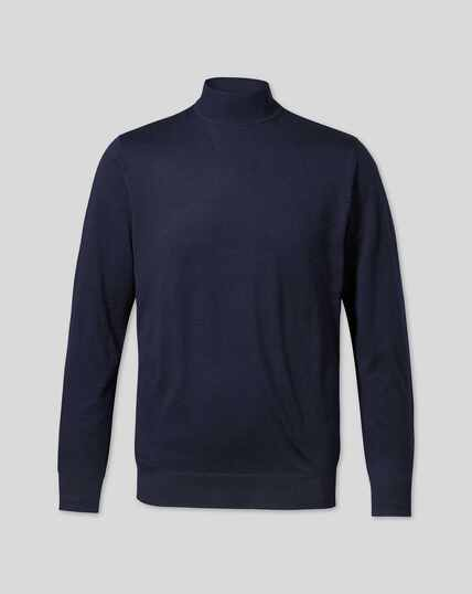 Merino Turtle Neck Sweater - Navy