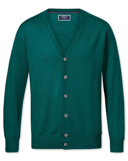 Teal merino wool cardigan