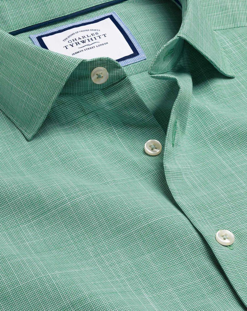 Business Casual Collar Cotton Slub Shirt - Green