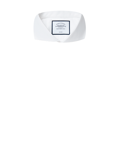Slim fit white non-iron twill extreme cutaway shirt