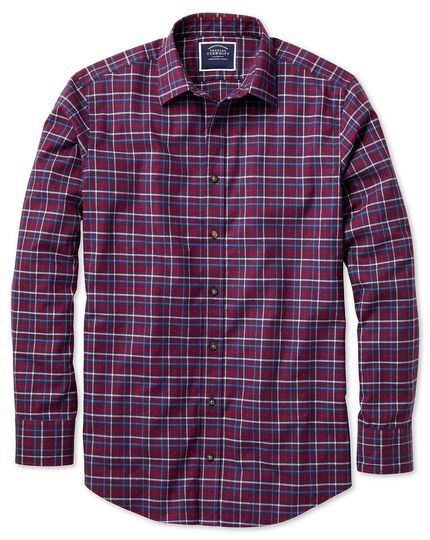 Classic fit purple and red brushed check shirt