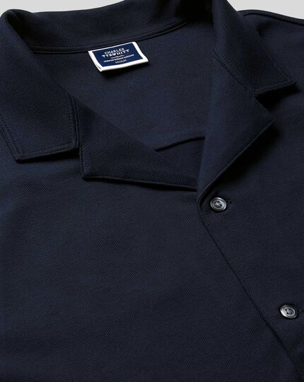 Tyrwhitt Pique Resort Collar Shirt - Navy