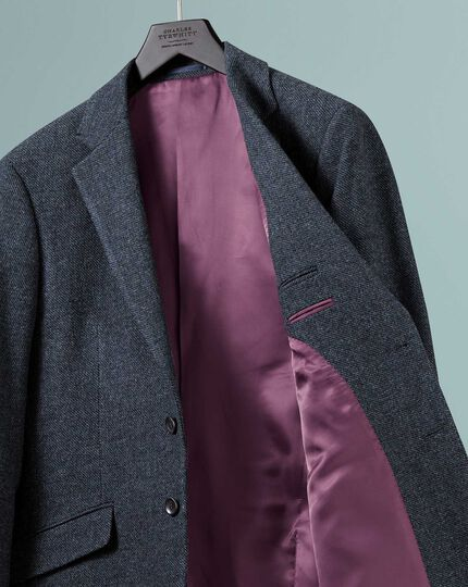 Slim fit indigo blue wool jacket