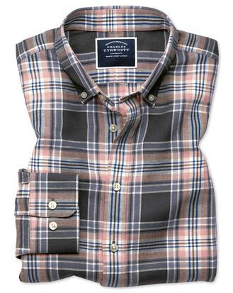 Slim fit grey and pink check cotton linen twill shirt