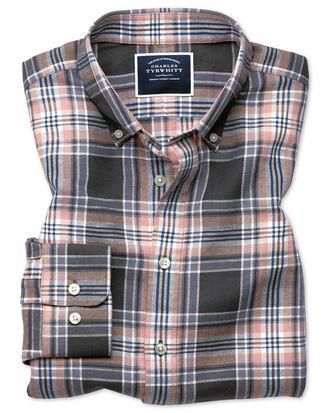 Slim Fit Twillhemd aus Baumwolle/Leinen mit Karos in Grau & Rosa