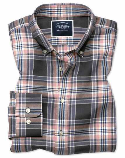 Classic Fit Twillhemd aus Baumwolle/Leinen mit Karos in Grau & Rosa
