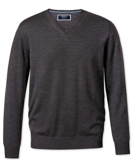 Charcoal merino wool v-neck jumper