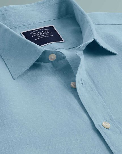 Classic fit blue TENCEL™ with linen shirt