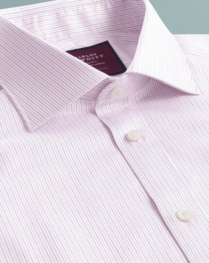 Chemise luxe rose coupe droite à fines rayures