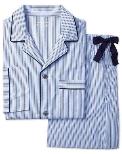 Sky blue and navy stripe pyjama set