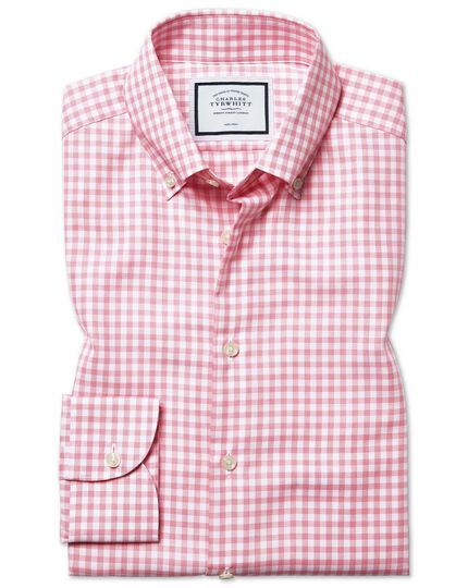 Extra slim fit button-down business casual non-iron with pink check shirt TENCEL™