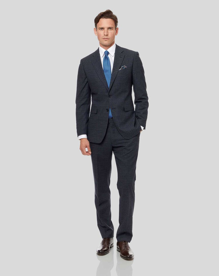 Grid Check Suit - Blue