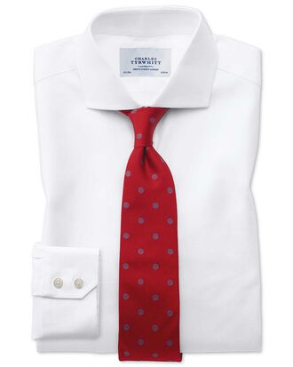 Extra slim fit cutaway Egyptian cotton cavalry twill white shirt