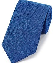 Royal blue silk textured English luxury tie