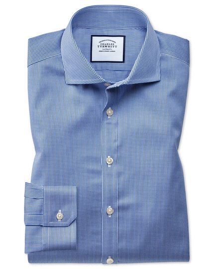 Super slim fit spread collar non-iron puppytooth royal blue shirt