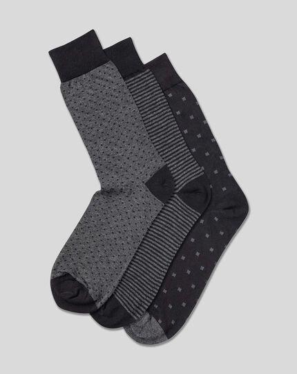 Cotton Rich 3 Pack Socks - Multi Pattern