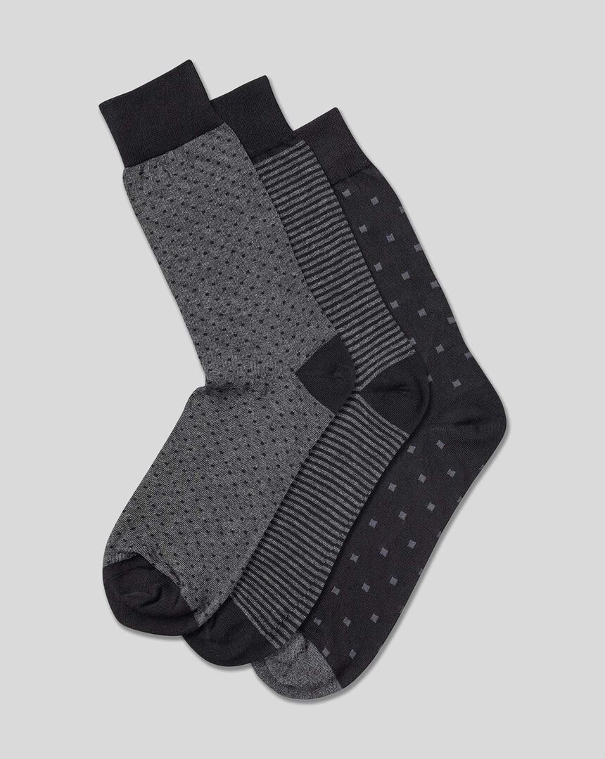 Cotton Rich 3 Pack Socks - Multi Pattern