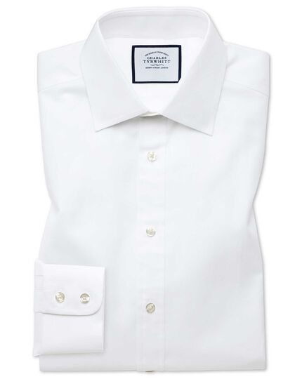 Slim fit white fine herringbone shirt