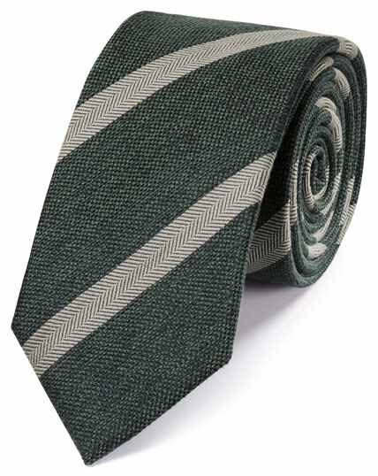 Forest green wool and silk stripe classic tie