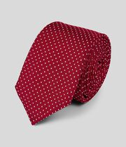 Silk Slim Spot Tie - Red & White