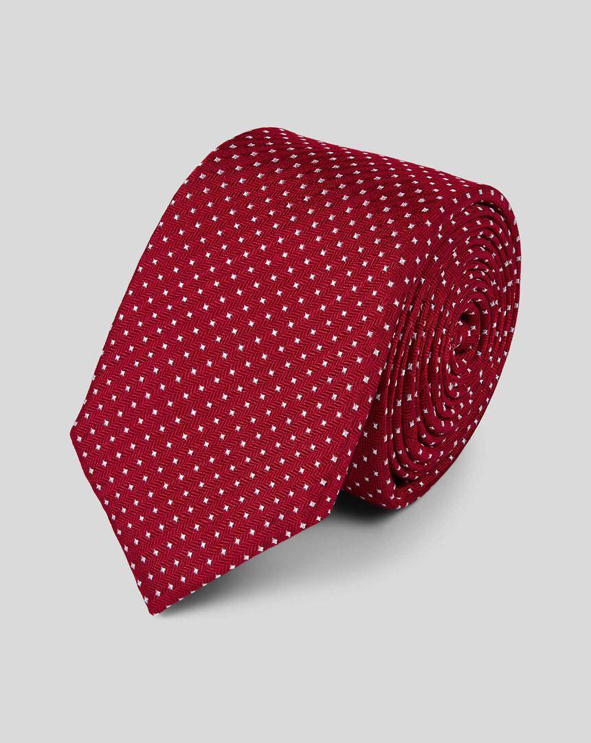 Silk Slim Spot Tie - Red & White