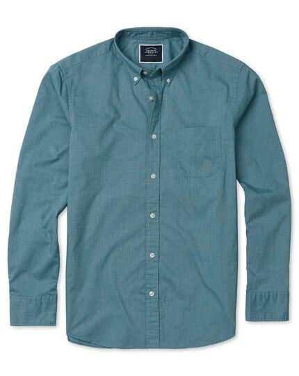 Slim fit green soft washed stretch poplin plain shirt