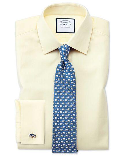 Slim fit fine herringbone yellow shirt