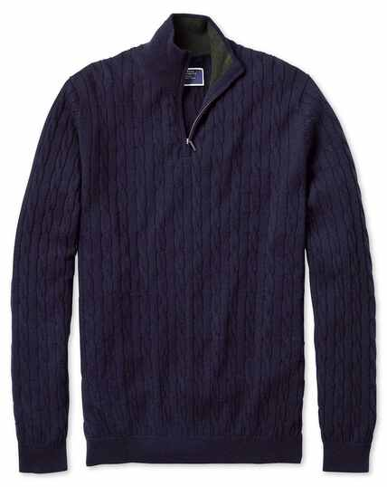 Navy zip neck lambswool cable knit sweater