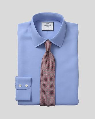 Chemise bleue en royal panama coupe droite sans repassage