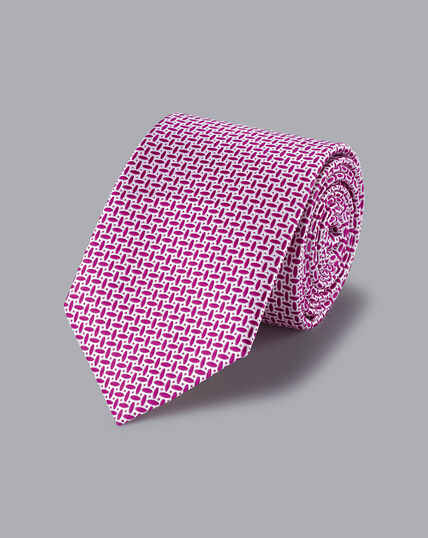 Stain Resistant Silk Oval Print Tie - Berry & White