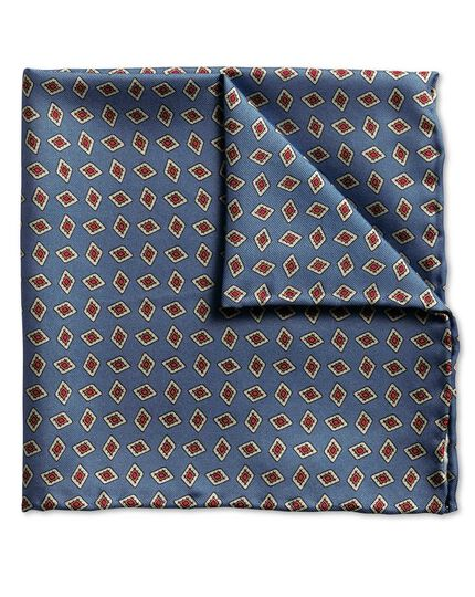 Mid blue diamond print luxury pocket square