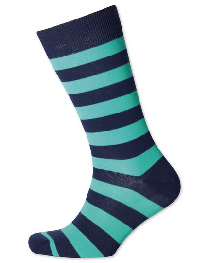 Mint and navy wide stripe socks