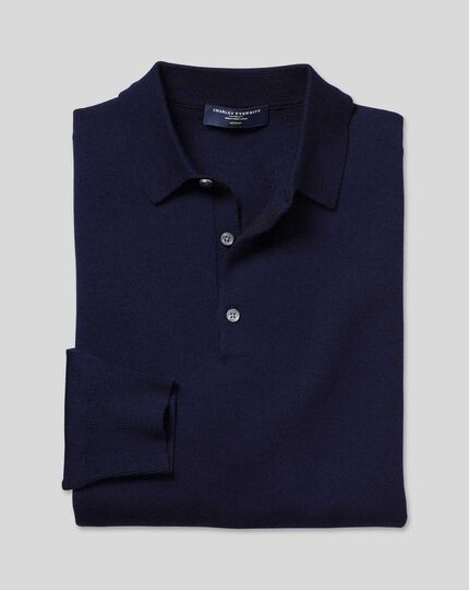 Merino Polo Jumper - Navy
